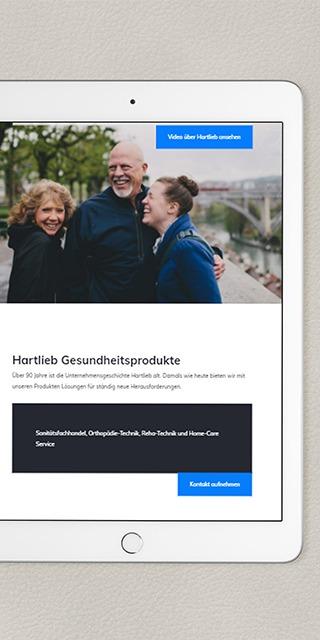 Hartlieb Website Relaunch Darstellung Tablet_ NPG Digital Referenz