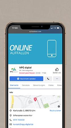 NPG digital Facebook Unternehmenswebsite Beispiel Mockup
