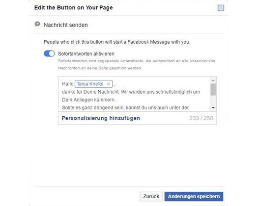 Sofortnachrichten aktivieren für Ihre Unternehmenswebsite bei Facebook