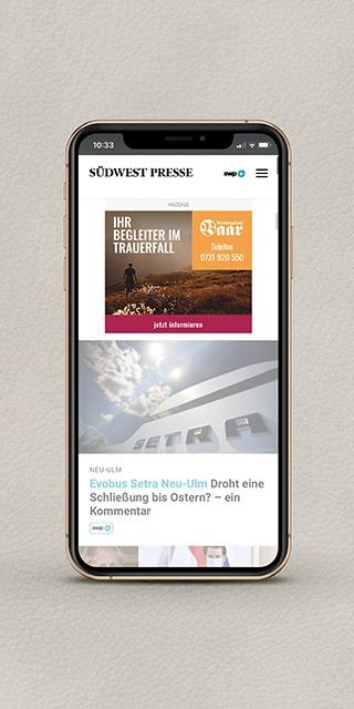 Banner Werbung für Bestattungsdienst Baar in Ulm Mockup