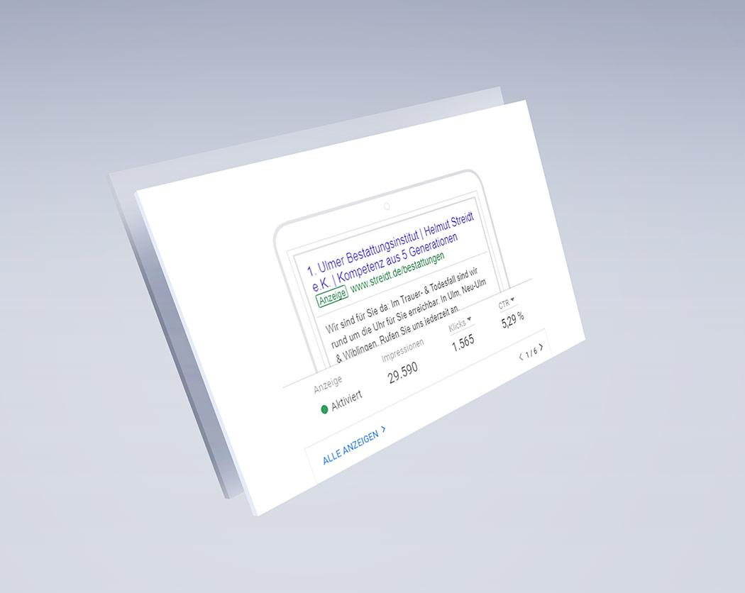 Ausspielung von Google Ads Kampagne-Bestattungsdienst Streidt-Referenz